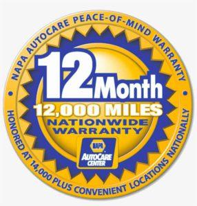 12 Month 12,000 Mile Warranty